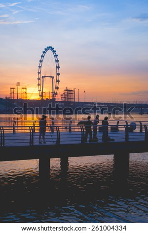 Singapore, Singapore - May 11, 2014: Singapore flyer located in Marina Bay. Singapore.