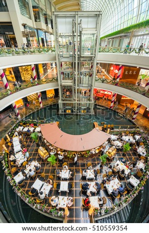 Singapore, Singapore - November 05, 2016 : The Shoppes at Marina Bay Sands is one of Singapore's largest luxury shopping malls, with over 800,000 square feet of high-end retail shoppes.
