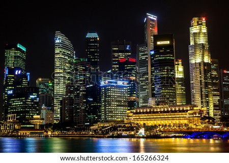 SINGAPORE, SINGAPORE - OCTOBER 3: Night scene of Singapore's Central Business District (CBD) on Oct. 3, 2012. The CBD contains the core financial and commercial districts of the island-state.