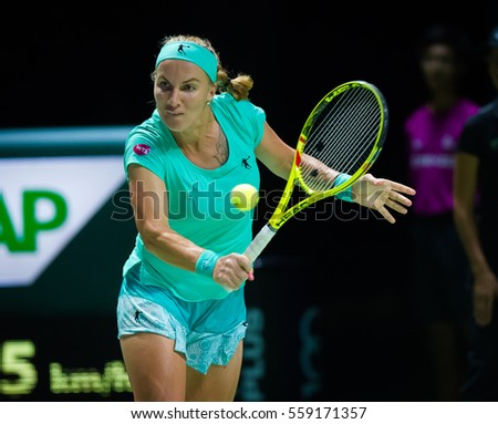 SINGAPORE, SINGAPORE - OCTOBER 28 : Svetlana Kuznetosva in action at the 2016 WTA Finals WTA International tennis tournament