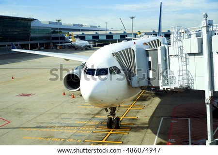 singapore, singapore - september 2, 2016: aircraft docked at Changi Airport.