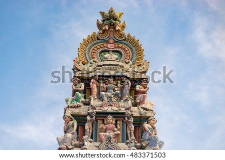 Singapore, Singapore - September 11 2016 : Hinduism statue of Sri Mariamman temple at China town in Singapore.