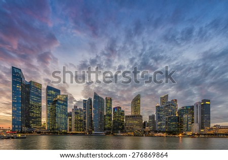 Singapore skyline and Financial Building with river at Marina Bay Area - stock photo