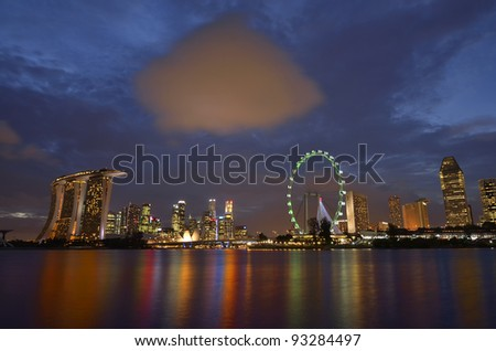 Singapore skyline at blue hour