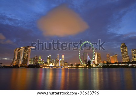 Singapore skyline at blue hour - stock photo