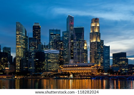 Singapore skyline at night. - stock photo