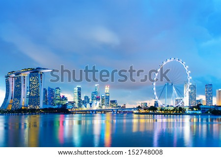 Singapore skyline at night - stock photo