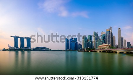Singapore skyline at the Marina.
