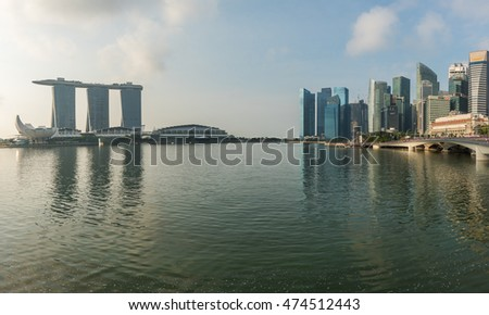 SINGAPORE SKYLINE, AUGUST 10 2016 : Singapore skyline and view of the financial district, Singapore on AUGUST 10 2016