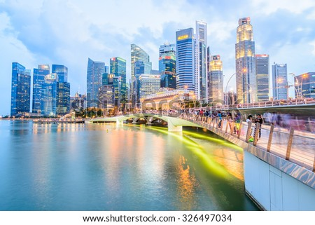 Singapore skyline city at twilight times - bright processing style pictures - stock photo