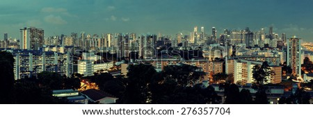 Singapore skyline from Mt Faber at night with urban buildings - stock photo