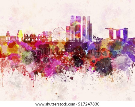 Singapore skyline in watercolor background