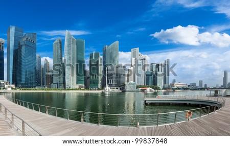 Singapore skyline of business district and Marina Bay panorama. Ultra wide angle - stock photo