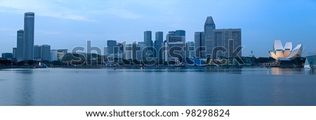 Singapore skyline panorama at Marina Bay - stock photo