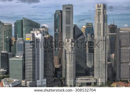Singapore Skyline. Singapore`s business district - stock photo