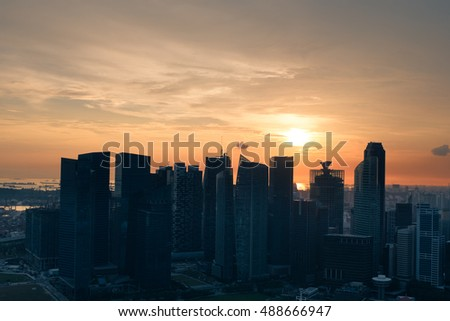 Singapore skyline sunset on Marina bay Sands rooftop