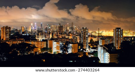 Singapore skyline viewed from mt faber at night with urban buildings - stock photo