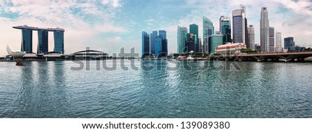 Singapore skyline with Marina Bay panorama - modern skyscrapers, view from river  - stock photo