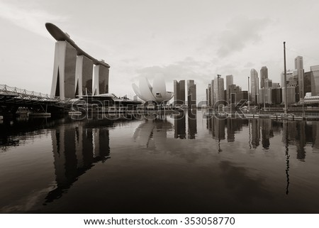 Singapore skyline with urban buildings over water