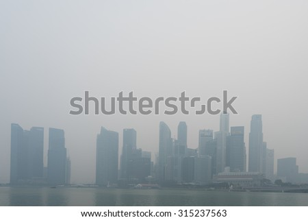 Singapore - 10th September, 2015: Haze fills the downtown area. Haze is caused by the forest fire and burning of plantation in Indonesia.