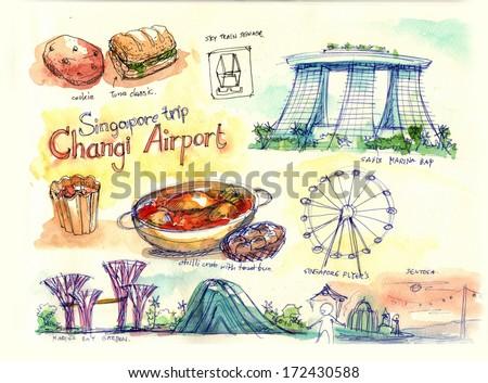 singapore travel, landmark, places and food illustration - stock photo