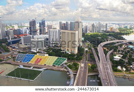 Singapore. View from a height View of Singapore from the observation platform at Marina Bay. - stock photo