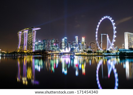 Singapore with night show - stock photo
