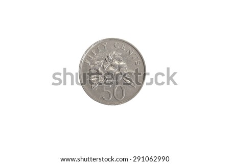 singaporean 50 cent coin isolated on white background