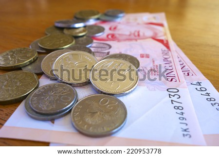 Singaporean Coins on a Bed of Notes