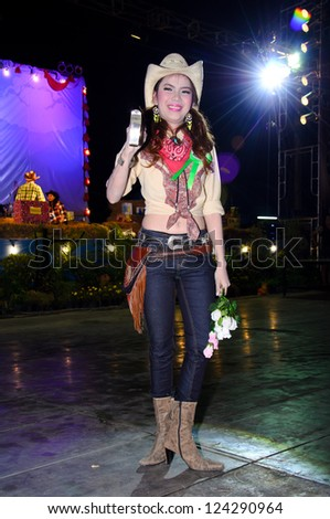 SINGBURI - JANUARY 2: Unidentified model display on Miss cowgirl contest of cowboy festival January 2, 2013 in Singburi, Thailand.