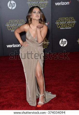 "Singer Becky G. at the world premiere of ""Star Wars: The Force Awakens"" on Hollywood Boulevard. December 14, 2015  Los Angeles, CA Picture: Paul Smith / Featureflash - stock photo"