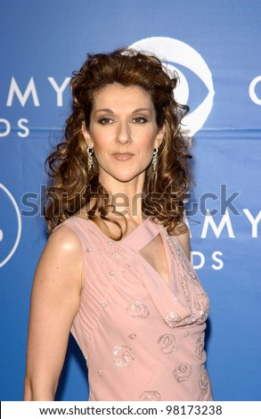 Singer CELINE DION at the 2002 Grammy Awards in Los Angeles. - stock photo
