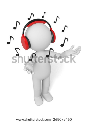 singer/3d people singing, with a headphone. 3d image. Isolated white background - stock photo