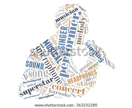Singer performer, word cloud concept on white background.
