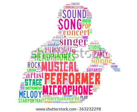 Singer performer, word cloud concept on white background.  - stock photo