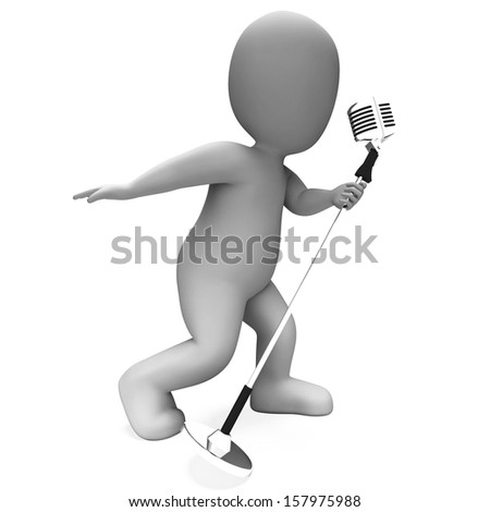 Singer Performing Showing Musical Song Or Karaoke Microphone Concert