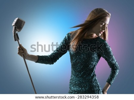 Singer, posture, melody. - stock photo