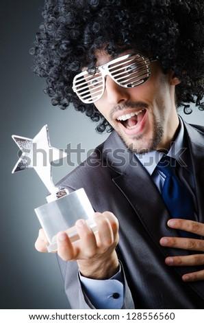 Singer receiving star prize award - stock photo