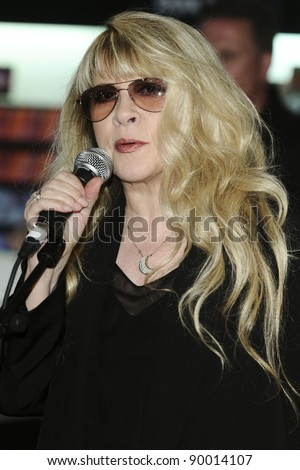 "singer, Stevie Nicks signs copies of her new CD ""In Your Dreams"" at HMV Oxford Street, London. 27/06/2011  Picture by: Steve Vas / Featureflash"