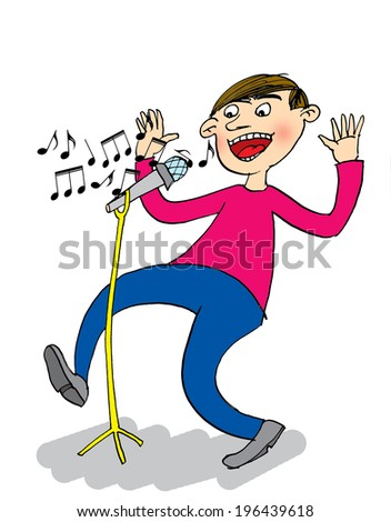 Singer with Microphone, cartoon