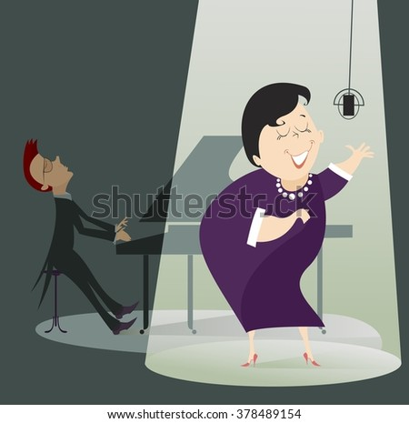Singer woman and a pianist in the concert. Singer woman sings in the spotlight with a pianist on the back side  - stock photo