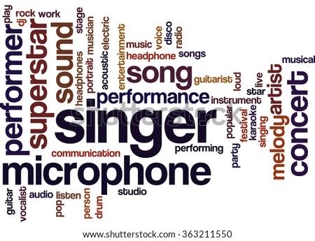 Singer, word cloud concept on white background.