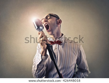 Singing a song - stock photo