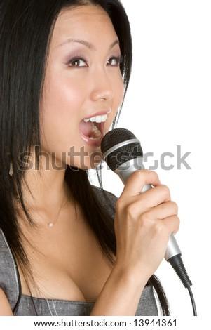 Singing Asian Woman - stock photo