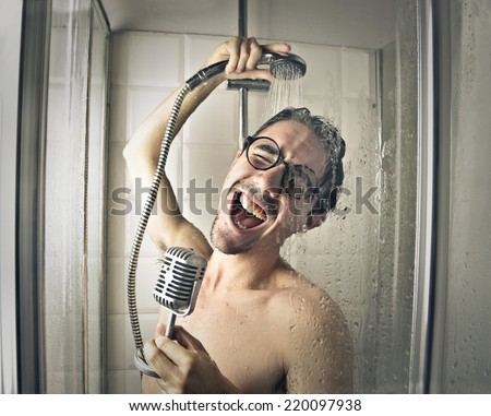 Singing in the shower  - stock photo