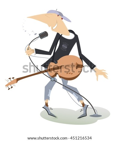Singing man with guitar. Guitarist is playing music and singing with the great inspiration  - stock photo