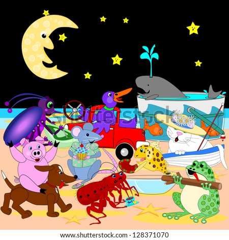 Singing under the moon.   Cartoon critters that are all together, singing under the moon, on the beach.