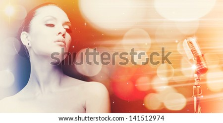 Singing woman. Abstract female portrait with beauty bokeh - stock photo