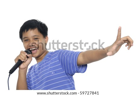 Singing Young boy - stock photo