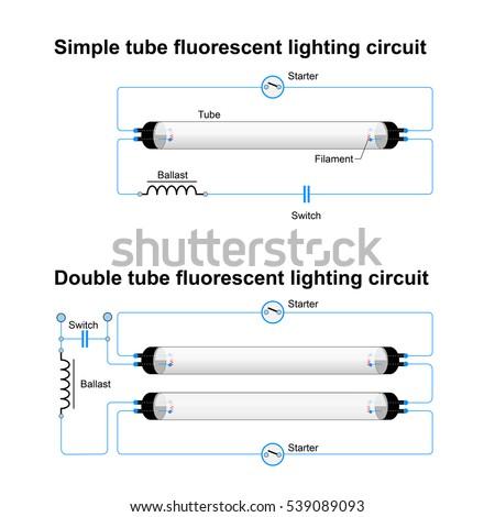 single double tube fluorescent lighting circuit stock illustration rh shutterstock com GE T12 Ballast Wiring Diagram T12 Ballast Wiring Diagram